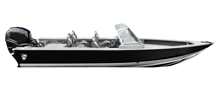 Aluminum V-hull Fishing Boat with Walk-Thru Windshield - Wide series Aluminum Boat Covers