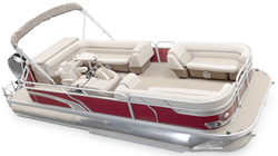 Pontoon with Bimini Top and Rails that Partially Enclose Deck Leaving 1'-3' of Open Deck Forward of Front Gate Pontoon Boat Covers
