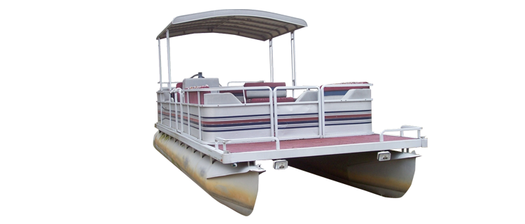 Pontoon with Fold-Down Type Hard Top and Rails that Partially Enclose Deck Leaving 1'-3' of Open Deck Forward of Front Gate Pontoon Boat Covers