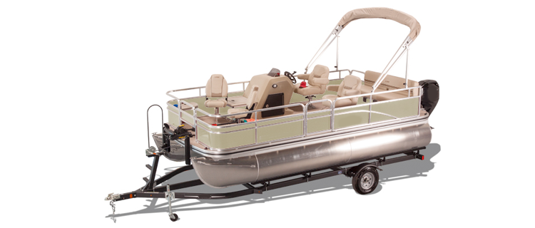 Pontoon with Low Rails or Fishing Chairs at Aft End of Deck Pontoon Boat Covers